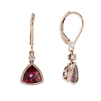 14k rose gold checkerboard trillion rubellite tourmaline & diamond milgrain bezel drop earrings