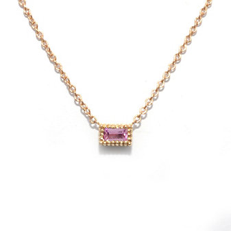 14K Rose Gold Baguette Pink Tourmaline Necklace