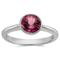14K_White_Gold_Pink_Tourmaline_Bezel_Set_Ring