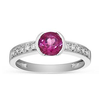 14K White Gold Half Bezel Pink Tourmaline and Diamond Ring