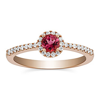 14K Rose Gold Pink Tourmaline and Round Diamond Halo Ring