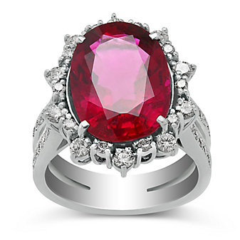 18K White Gold Rubelite Tourmaline and Round Diamond Halo Ring