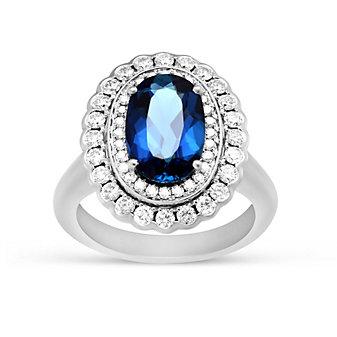 18K White Gold Indicolite Tourmaline and Round Diamond Halo Ring