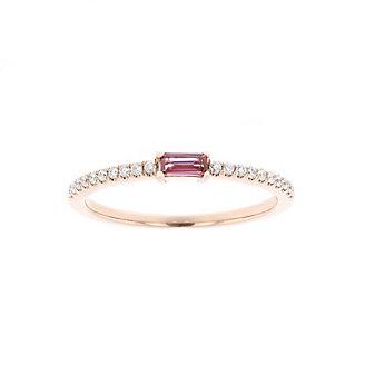 14k rose gold baguette pink tourmaline & diamond ring