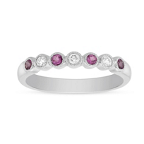 14K_White_Gold_Round_Tourmaline_&_Diamond_Bezel_Set_Milgrain_Ring