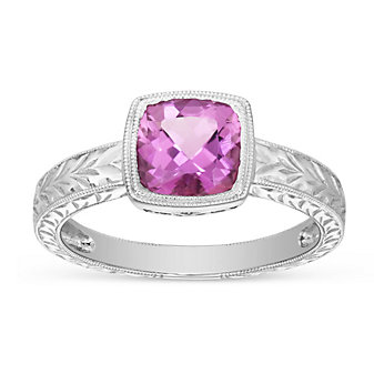 14K White Gold Pink Tourmaline Ring With Milgrain Border