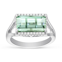 18K_White_Gold_Emerald-Cut_Green_Tourmaline_&_Round_Diamond_Ring