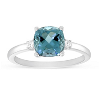 14K_White_Gold_Checkerboard_Cushion_Indicolite_Tourmaline_&_Round_Diamond_Ring