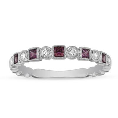 14K White Gold Pink Tourmaline & Diamond Geometric Ring