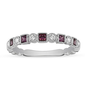 14K White Gold Pink Tourmaline & Diamond Geometric Ring