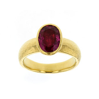 gurhan 24k yellow gold oval cabochon pink tourmaline bezet set ring