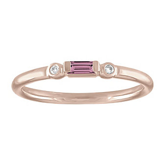 14k rose gold baguette tourmaline & round diamond bezel set ring