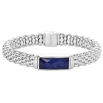 Lagos Sterling Silver Maya Lapis Doublet Caviar Beaded Bracelet