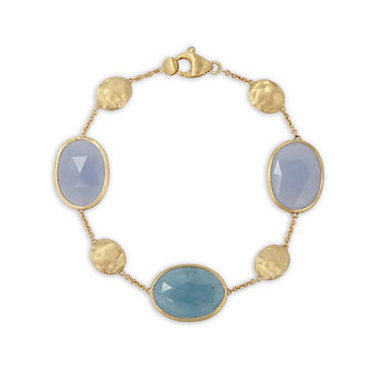 Marco Bicego 18K Yellow Gold, Aquamarine & Chalcedony Siviglia Bracelet