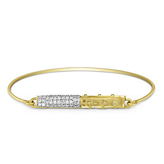 Phillips House 14K Yellow Gold Rock Crystal Quartz and Diamond Bangle Bracelet