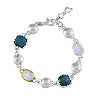 Gurhan Lentil Sterling Silver & 24K Aquamarine and Moonstone Bracelet