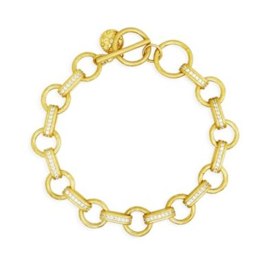 Freida Rothman Sterling Silver Gold-Tone Pave Linked Chain Toggle Bracelet