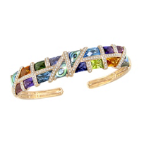 Bellarri_14K_Rose_Gold_Mulit_Stone_And_Diamond_Mosaic_Nouveauz_Cuff_Bracelet