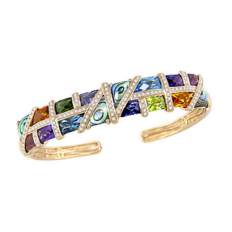 Bellarri 14K Rose Gold Mulit Stone And Diamond Mosaic Nouveauz Cuff Bracelet