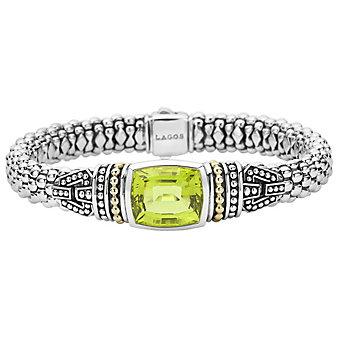 Lagos Green Quartz Bezel-Set Sterling Silver Caviar Bracelet