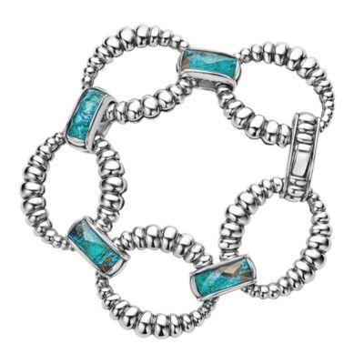 Lagos Maya Link Bracelet in Quartz & Chrysocolla Doublet