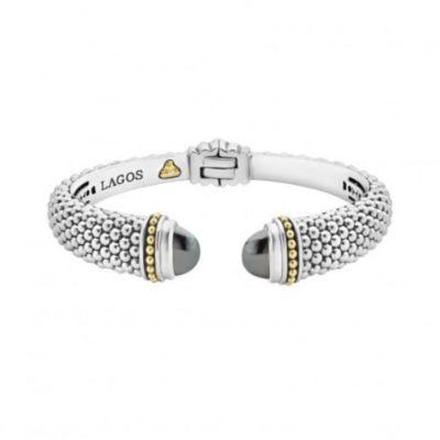 lagos sterling silver & 18k yellow gold caviar color hematite hinge cuff bracelet