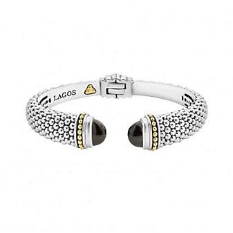 lagos sterling silver & 18k yellow gold caviar color black onyx hinge cuff bracelet