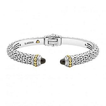 lagos sterling silver & 18k yellow gold caviar color black onyx thin hinge cuff bracelet