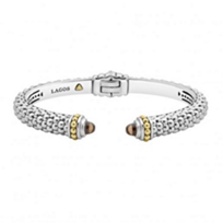 lagos_sterling_silver_&_18k_yellow_gold_caviar_color_smoky_quartz_thin_hinge_cuff_bracelet