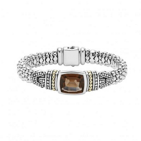lagos_sterling_silver_&_18k_yellow_gold_caviar_color_smoky_quartz_wide_bracelet