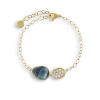 "marco_bicego_18k_yellow_gold_black_mother_of_pearl_&_diamond_lunaria_bracelet,_8"""