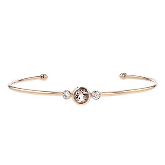 14k yellow gold round morganite & diamond bezel set cuff bracelet