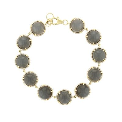 "14k yellow gold round cabochon gray moonstone & diamond bracelet, 7.5"""