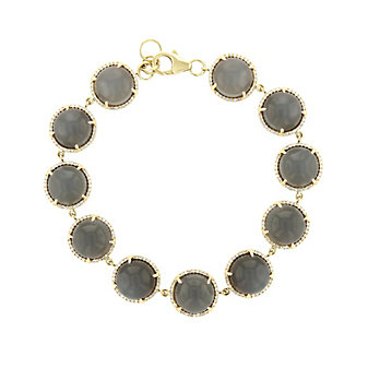 14k yellow gold round cabochon gray moonstone & diamond bracelet, 7.5""