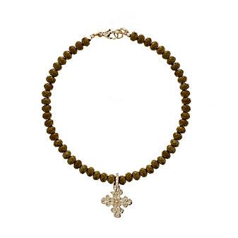 robin haley 14k yellow gold diamond cross mustard pyrite bead wire bracelet