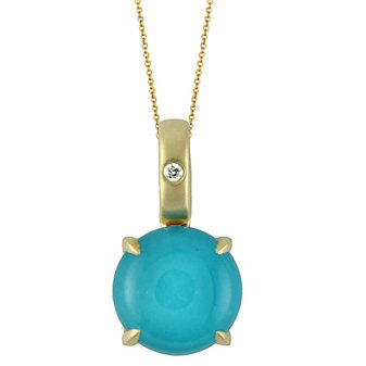 18K Yellow Gold Turquoise and White Topaz Double With Round Diamond Pendant