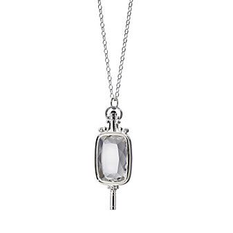 Monica Rich Kossan Sterling Silver Rectangular Rock Crystal Pocketwatch Key Necklace