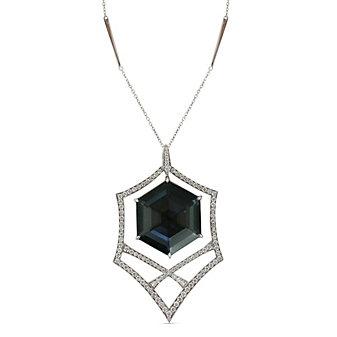 Stephen Webster 18K White Gold Hematite, Crystal Quartz and Diamond Pendant
