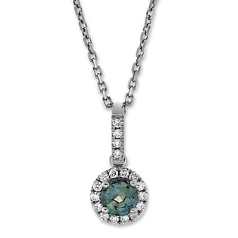 14K White Gold Alexandrite and Round Diamond Halo Pendant