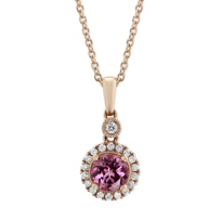 14K_Rose_Gold_Round_Pink_Spinel_and_Diamond_Halo_Pendant,_18""