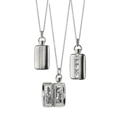 Monica Rich Kosann Sterling Silver Rectangular Rose-Cut Locket