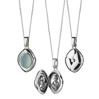 Monica Rich Kosann Sterling Silver Calcite Petite Locket