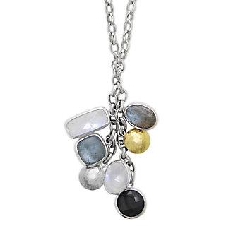 Gurhan Sterling Silver & 24K Moonstone, Aquamarine & Labradorite Tassel Necklace
