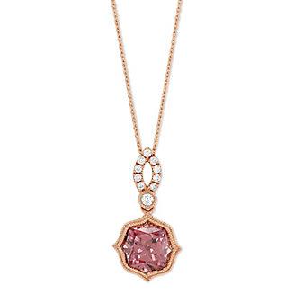 14K Rose Gold Pink Zircon and Round Diamond Pendant