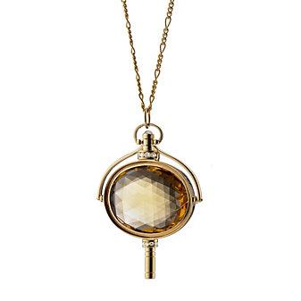 Monica Rich Kosann 18K Yellow Gold Honey Quartz Oval Key Necklace