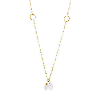 Melissa Joy Manning 14K Yellow Gold Pink Chalcedony & Moonstone Briolette Pendant