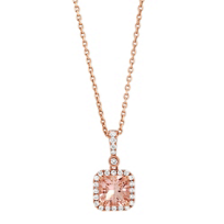 14K_Rose_Gold_Cushion_Morganite_and_Diamond_Halo_Pendant,_18""