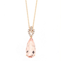 14K_Rose_Gold_Pear_Shaped_Morganite_and_Diamond_Pendant,_18""