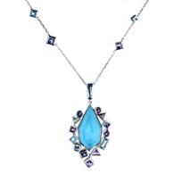 "stephen_webster_18k_white_gold_crystal_quartz_&_turquoise_doublet_multi_gem_pendant,_17.5"""
