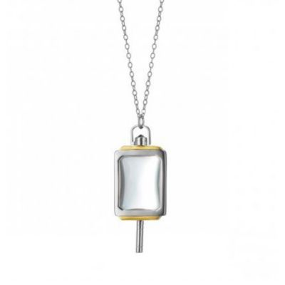 monica rich kosann 18k yellow gold and sterling silver rectangular rock crystal key pendant, 32""